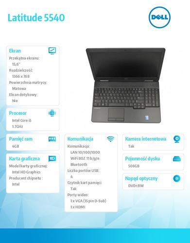 "Dell Latitude E5540 W78.1 (lic 64-bit Win8, nosnik) i5-4210U/500+8GB SSHD/ 4GB/HD4400/DVD-RW/6cell/3Y NBD/15'6"" HD"
