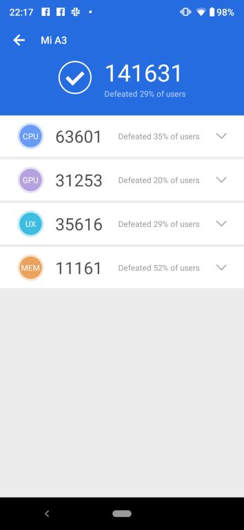 Wynik w Antutu Benchmark Xiaomi Mi A3