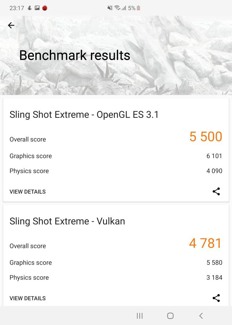 Galaxy Fold w 3D Mark benchmark