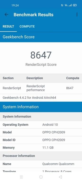Wynik Oppo Reno3 Pro w Geekbench (render script)