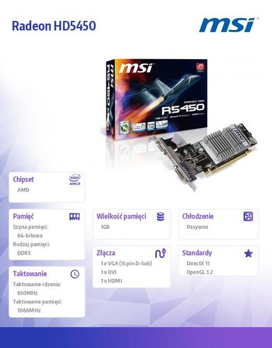 MSI Radeon HD5450 1GB DDR3 PCI-E 64BIT DVI/HDMI/D-SUB BOX