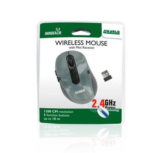 4World Bezprzew.mysz optyczna 1200dpi z mini odbiornikiem, czarno-szara