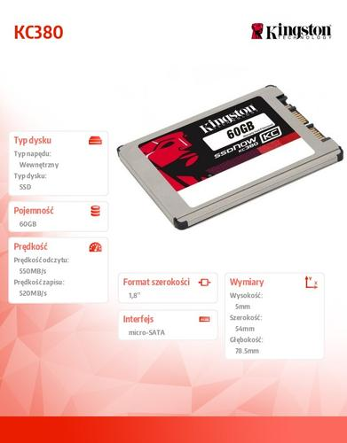 Kingston SSD KC380 SERIES 60GB micro-SATA3 1,8'