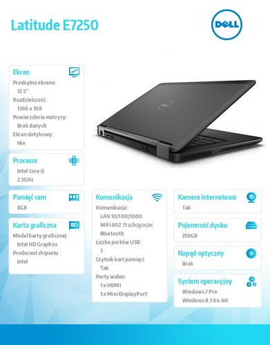 "Dell Latitude E7250 Win78.1Pro(64-bit win8, nosnik) i5-5300U/256GB/8GBBT 4.0/4-cell/Office 2013 Trial/UMA/KB-Backlit/12""/3Y NBD"