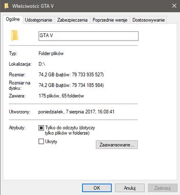 Ranking dysków SSD - ile zajmuje GTA V