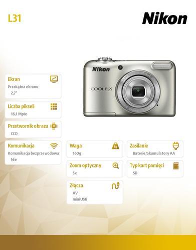 Nikon Coolpix L31 16,1M 5xOZ, 720p srebrny
