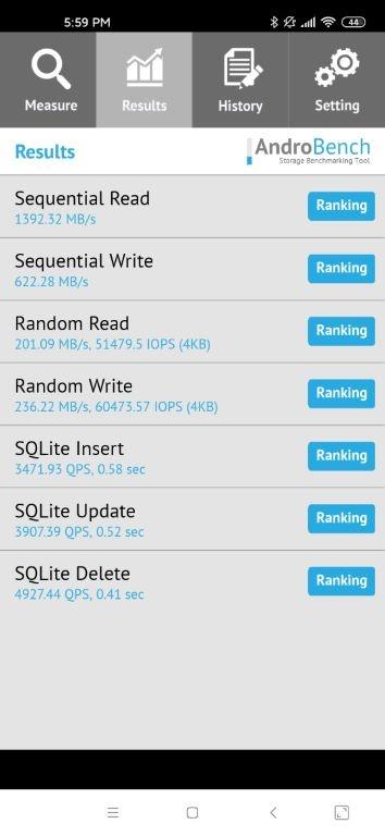 Xiaomi Mi 10 - wynik w Androbench