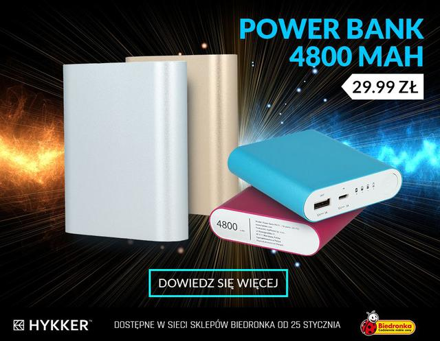 Hykker prezentuje ciekawy power bank - jego pojemność to 4800 mAh.