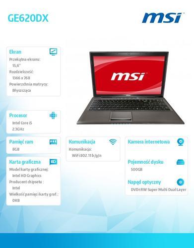 MSI GE620DX W7H i5-2430 500GB/8GB/GT555M/15.6''