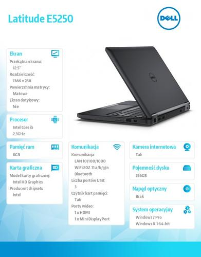 "Dell Latitude E5250 Win78.1Pro(64-bit win8, nosnik) i5-5300U/256GB/8GB/BT 4.0/Office 2013 Trial/3-cell/KB-Backlit/12.5""HD/3Y NBD"