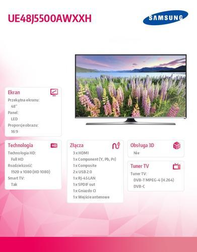 Samsung 48'' TV Slim LED Full HD UE48J5500AWXXH