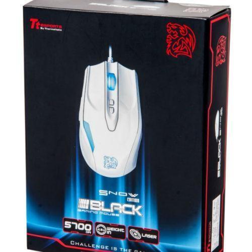 Thermaltake Tt eSPORTS Myszka dla graczy - BLACK Snow Edition White 5700DPI Avago Laser