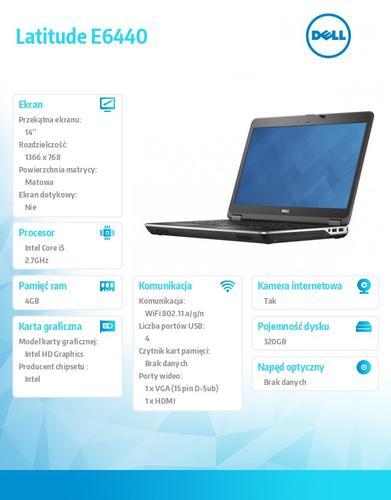 "Dell Latitude E6440 Windows 7 Pro PL i5-4310M/320GB/4GB/HD4600/6Cell/ KB-Backlit/3YNBD/14"" HD"