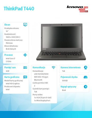 """Lenovo ThinkPad T440 20B7008VPB Win7Pro & Win8.1Pro 64-bit i7-4600U/4GB/500GB/Intel HD/N-Optical/3c/14.0"""" HD+ Black, WWAN Ready"""