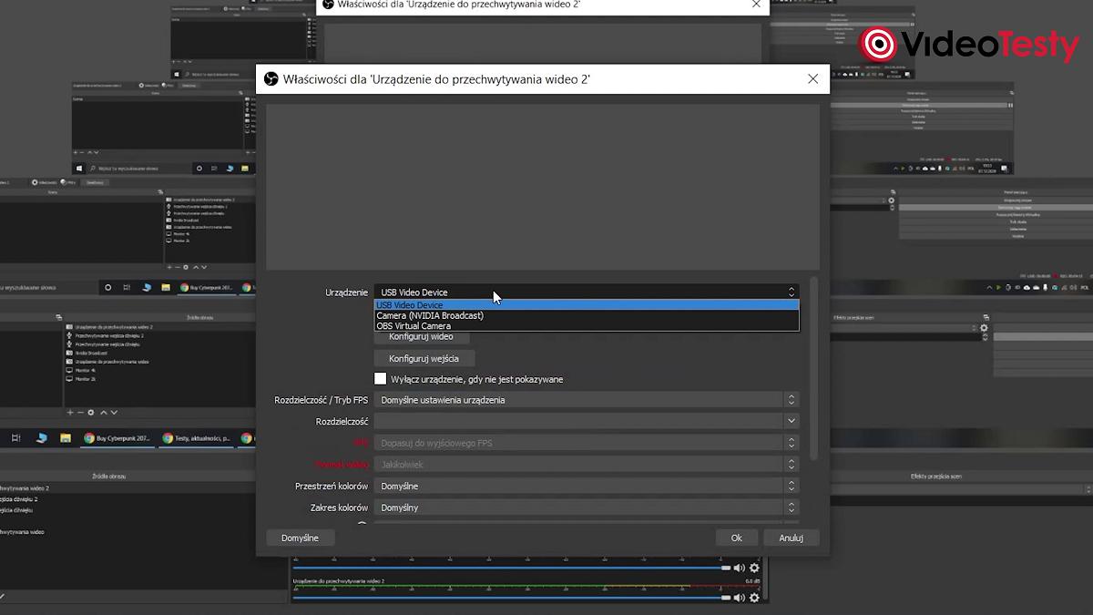 Konfiguracja Nvidia Broadcast w aplikacji OBS
