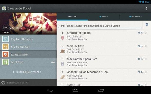 Aplikacja Evernote Food