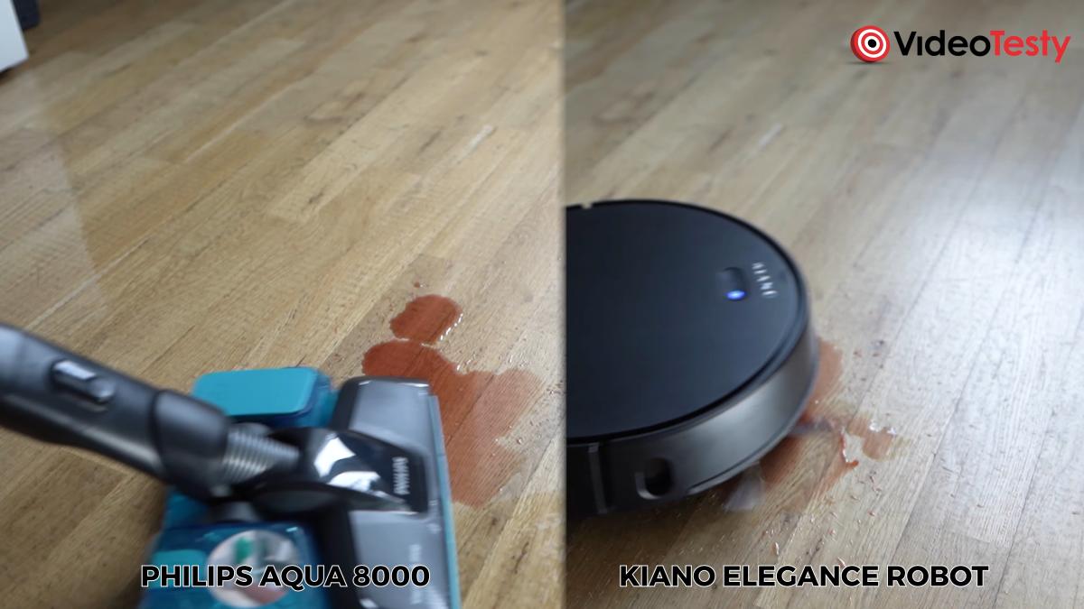 Mopowanie podłogi Philips Aqua 8000 vs Kiano Elegance Robot