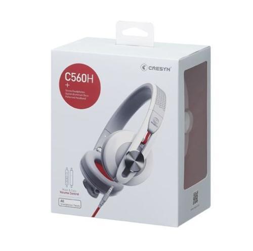 Cresyn C560H Białe słuchawki z pilotem, mikrofonem