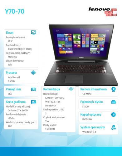 """Lenovo Y70-70 80DU00B6PB Win8.1 i7-4710HQ/8GB/512GB SSD/nVidia GF GTX 860M 4G/17.3"""" Black"""