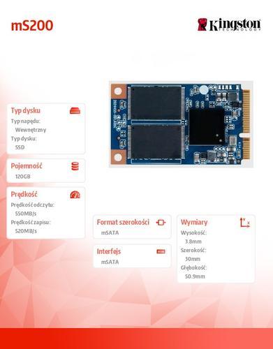 Kingston mS200 SERIES 120GB mSATA3 550/520 MB/s
