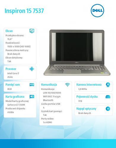 "Dell Inspiron 7537 (Hadley) Win8.1 Pro (64Bit) i7-4510U/8GB/1TB/GT750M/4c/15.6"" Truelife FHD Touch Aluminium 2YDND"