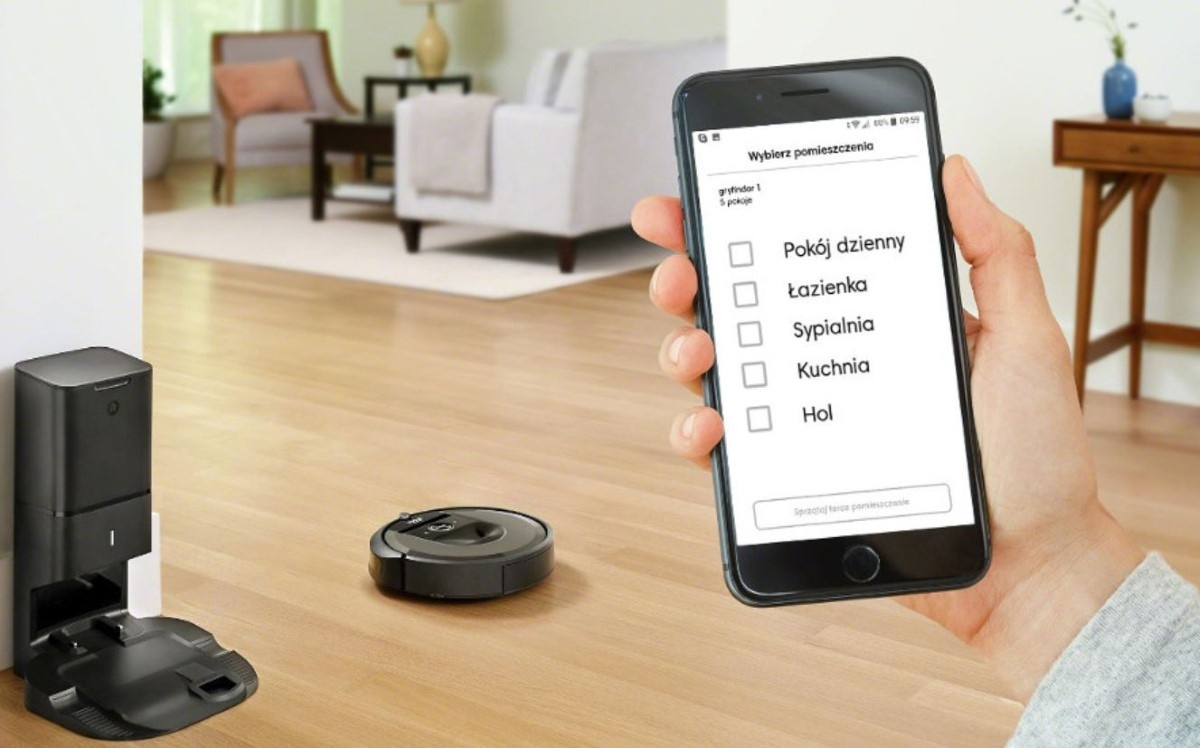 Sterowanie odkurzaczem Roomba i7+ za pomocą aplikacji