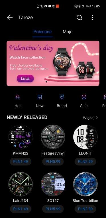 Huawei Watch GT2 Pro korzysta z dostępu do sklepu z tarczami - płatnymi i bezpłatnymi