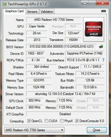 Sapphire Radeon HD7730 cpuz