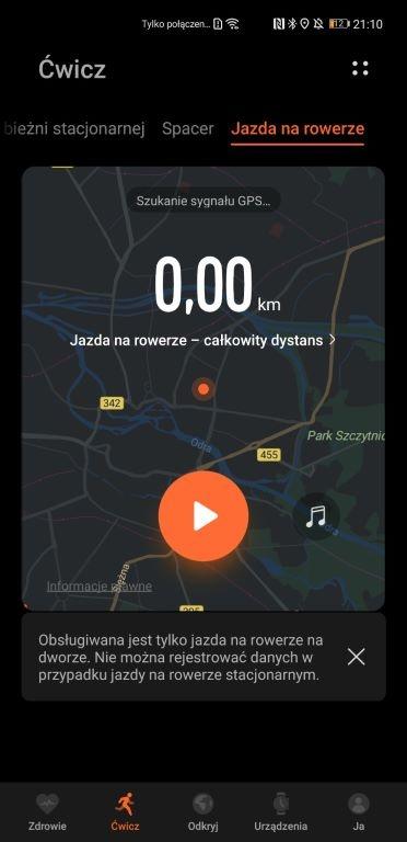Ekran treningu przed jazdą na rowerze