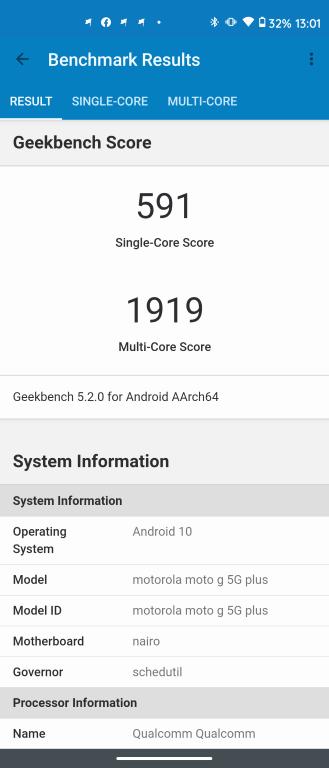 Wynik Motoroli Moto G 5G Plus w Geekbench 5