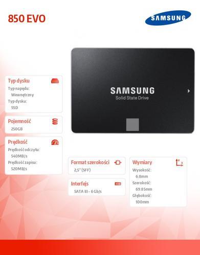 "Samsung SSD 850 EVO MZ-75E250B/EU 250GB SATA3 2,5"""