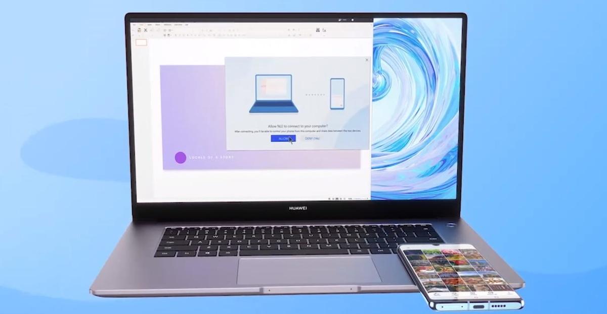 Matebook D15 pozwala szybko połączyć laptop ze smartfonem i wysyłać duże pliki