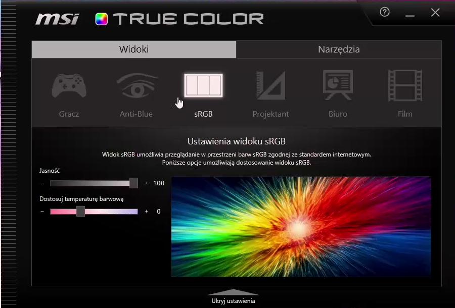 MSI True Color - oprogramowanie do kalibracji matrycy