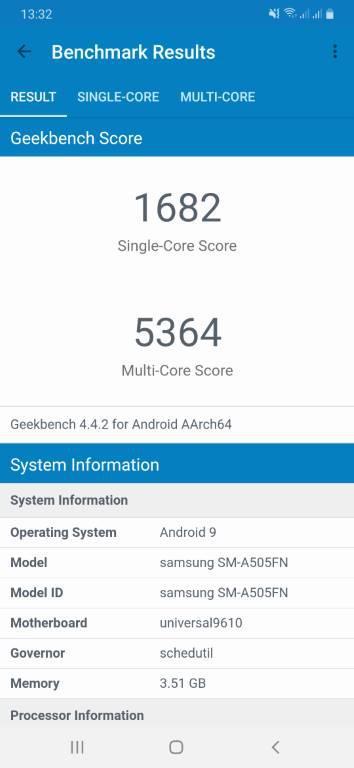 Wynik Samsunga Galaxy A50 w Geekbench