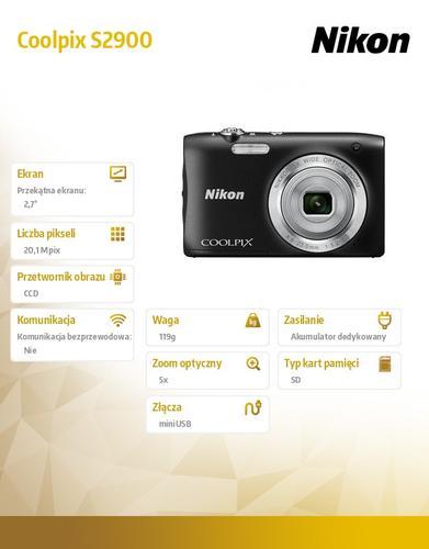 Nikon Coolpix S2900 czarny 20,1M,5xOZ,720p