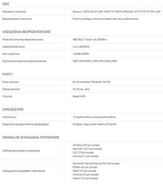 SpecyfikacjaTP-link NC450