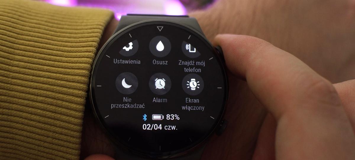 Pasek ze skrótami do funkcji w Huawei Watch GT2 Pro
