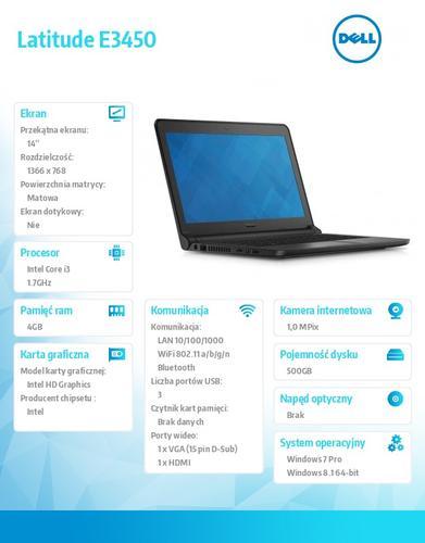 Dell Latitude E3450 Win78.1(64-bit win8, nosnik) i3-4005U/500GB/4GB/BT4.0/Office 2013 Trial/Integrated HD4400/3-cell/KB-Backlit/14'HD/3Y NBD