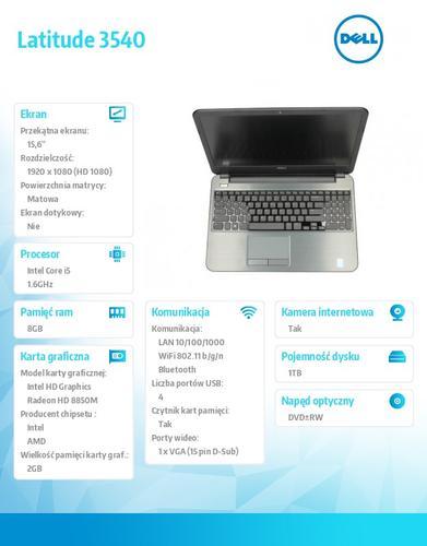 Dell Latitude 3540 W78.1P (lic 64-bit Win8, nosnik) I5-4210U/1TB/8GB /DVD-RW/BT 4.0/6CELL/38M NBD/15'6 FHD AG