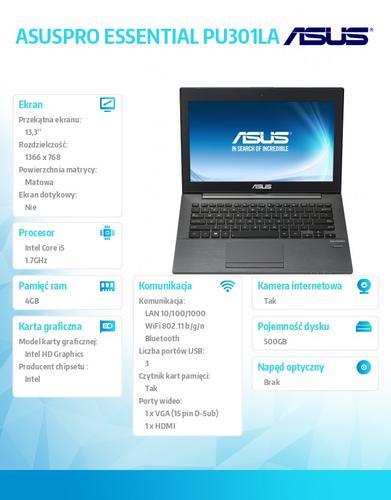 "Asus ASUSPRO ESSENTIAL PU301LA-RO123G Win8Pro i5-4210U/4GB/500GB/HD4400/w/o ODD/13.3"" HD AG Dark Gray"