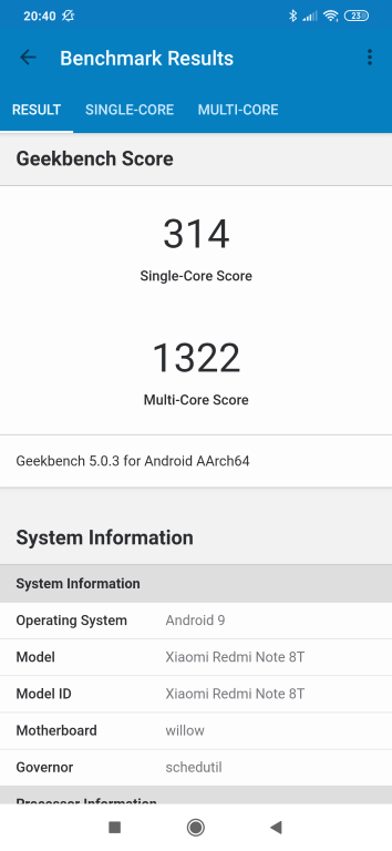 Redmi Note 8T - Geekbench
