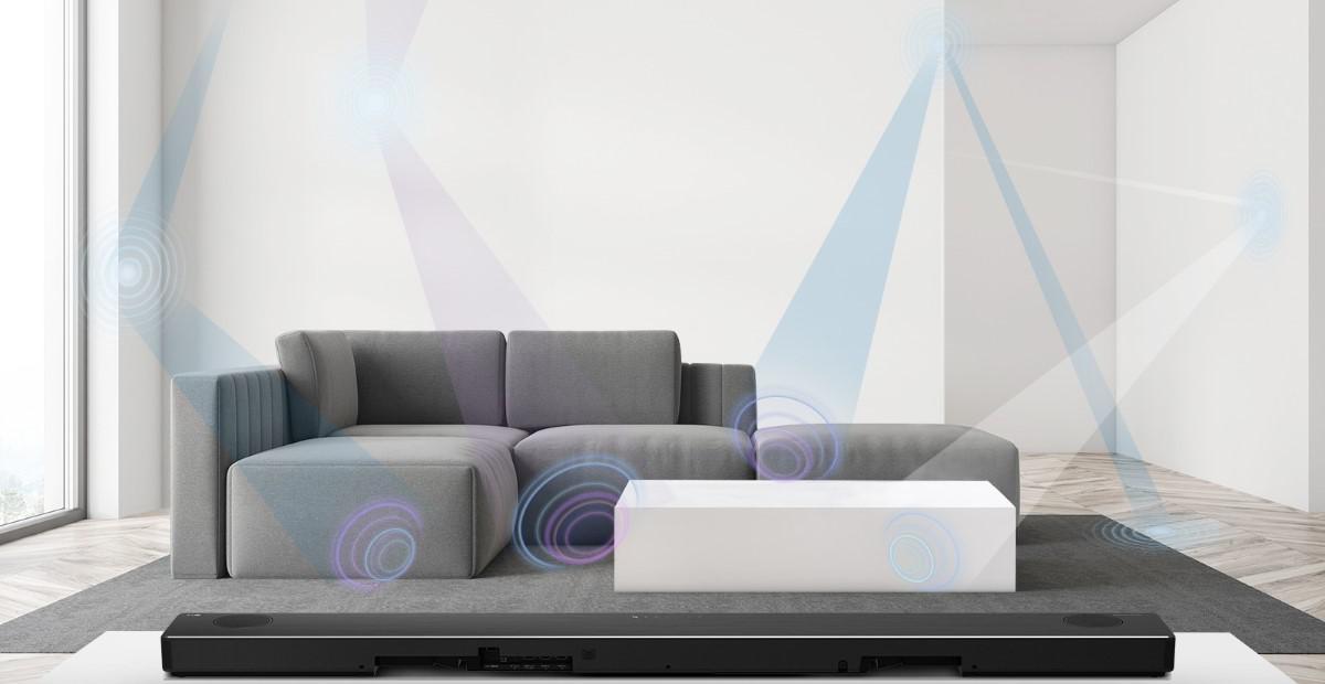 Symulacja kalibracji pomieszczenia przez soundbar LG