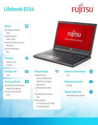 Fujitsu Lifebook E554 W8/7P i3-4100M/4G/HDD500G/DVD HD LKN:E55