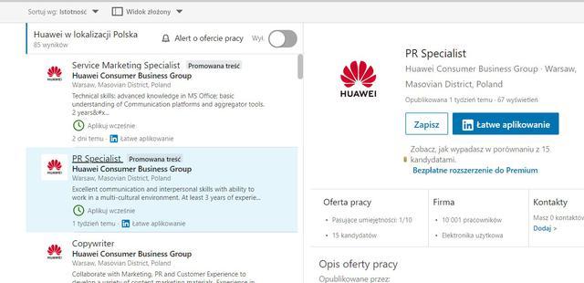 Huawei poszukuje pracowników chociażby do PRu