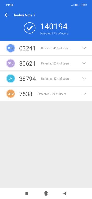 Wynik Redmi Note 7 w Antutu