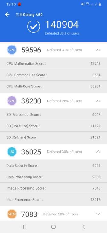 Galaxy A50 - wynik w Antutu (stare procesowanie)