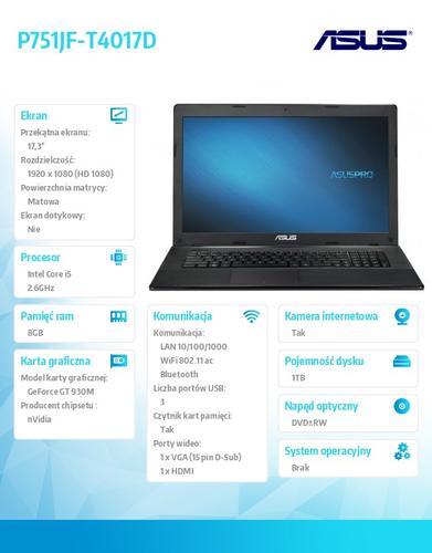 "Asus P751JF-T4017D w/o OS i5-4210M/8GB/1TB/GT930/8DL/FPR/17.3"" FHD AG"