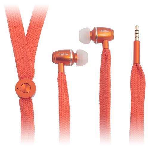 LogiLink Słuchawki stereo z mik. 'sznurówka' pomarańczowe
