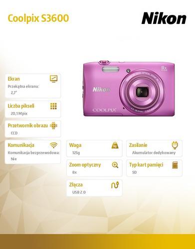 Nikon Coolpix S3600 różowy 20,1M, 8xOZ, 720