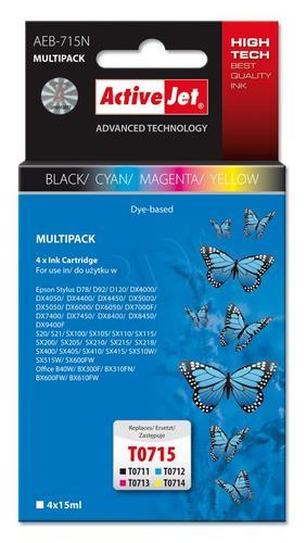 ActiveJet AEB-715N multipack tusz czarny, cyan, magenta, żółty do drukarki Epson (zamiennik Epson T0715 ) Supreme